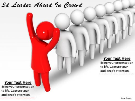Business Strategy Planning 3d Leader Ahead Crowd Concepts