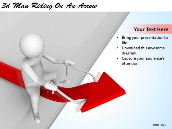 Business Strategy Planning 3d Man Riding On Arrow Character