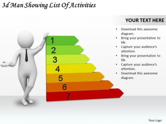 Business Strategy Planning 3d Man Showing List Of Activities Character