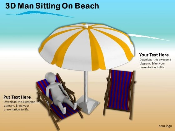 Business Strategy Planning 3d Man Sitting On Beach Character