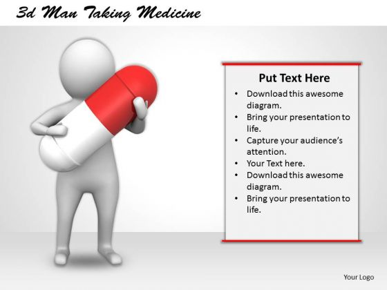 Business Strategy Planning 3d Man Taking Medicine Character