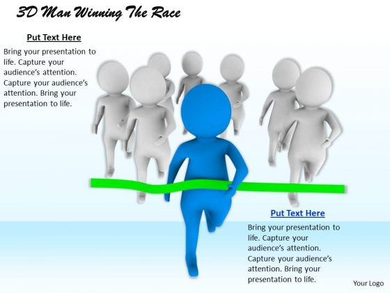Business Strategy Planning 3d Man Winning The Race Character Models