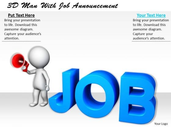 Business Strategy Planning 3d Man With Job Announcement Concept