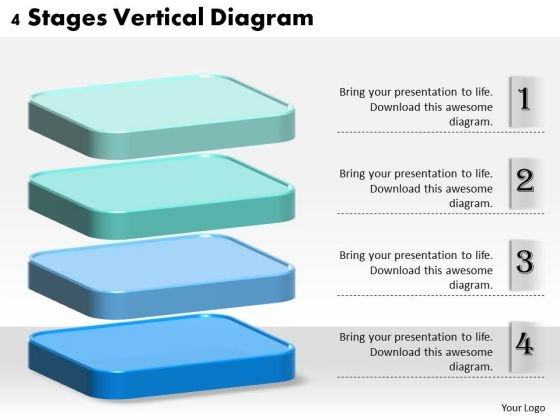Business Strategy Planning 4 Stages Vertical Diagram Project Management Ppt Slide