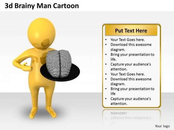 Business Strategy Process 3d Brainy Man Cartoon Character