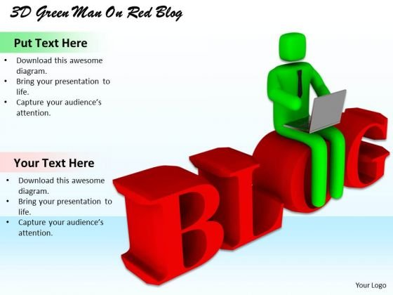Business Strategy Process 3d Green Man On Red Blog Character Models