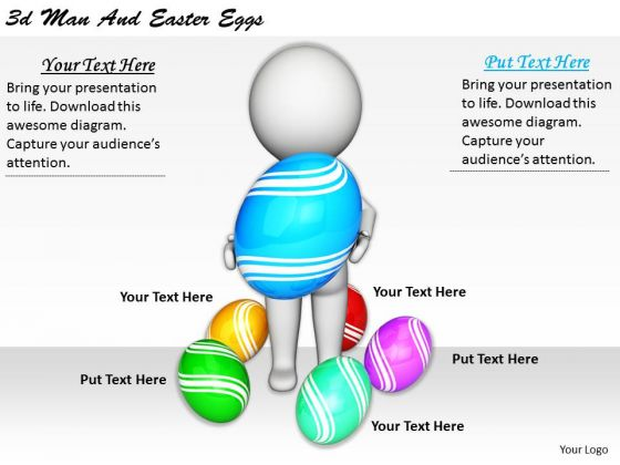 Business Strategy Process 3d Man And Easter Eggs Characters