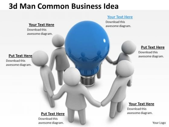 Business Strategy Process 3d Man Common Idea Character Models