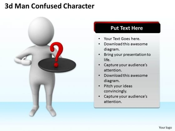 Business Strategy Process 3d Man Confused Character Models