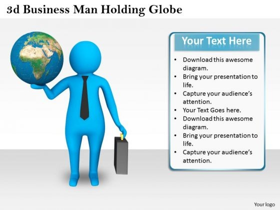 Business Strategy Process 3d Man Holding Globe Character