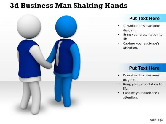 Business Strategy Process 3d Man Shaking Hands Character