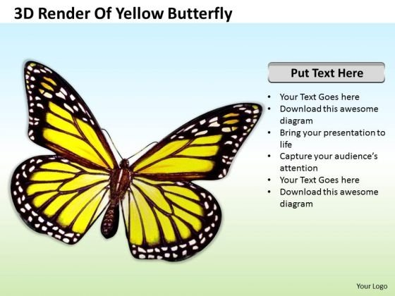 Business Strategy Process 3d Render Of Yellow Butterfly Icons Images