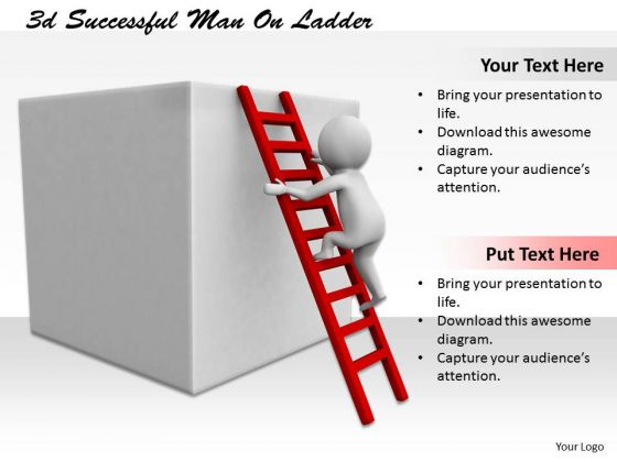 Business Strategy Process 3d Successful Man On Ladder Characters