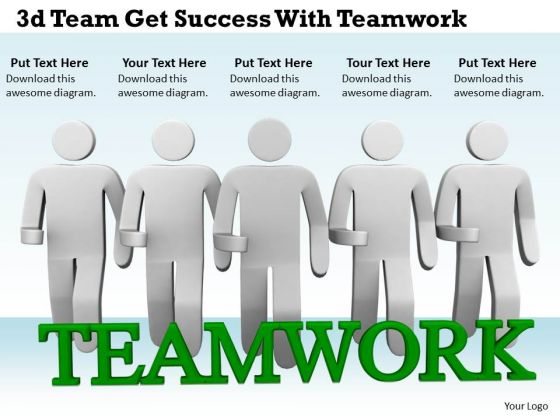 Business Strategy Process 3d Team Get Success With Teamwork Characters