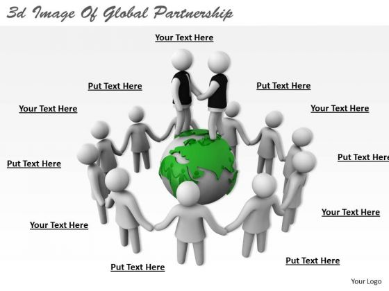 Business Strategy Review 3d Image Of Global Partnership Concepts