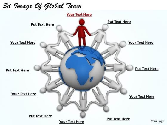 Business Strategy Review 3d Image Of Global Team Concepts