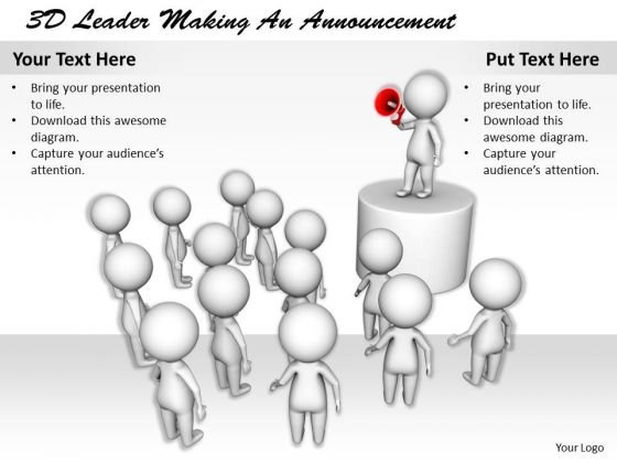 Business Strategy Review 3d Leader Making An Announcement Concept