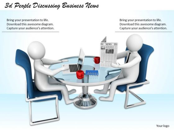 Business Strategy Review 3d People Discussing News Character