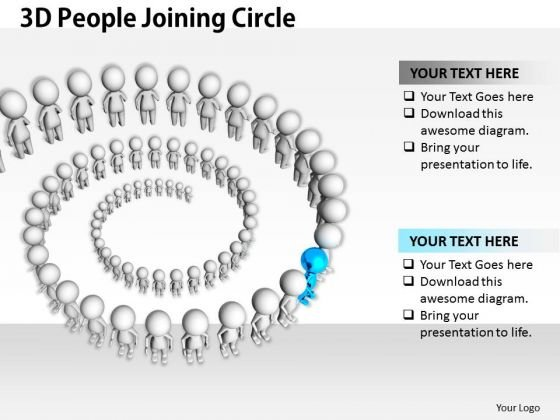 Business Strategy Review 3d People Joining Circle Character