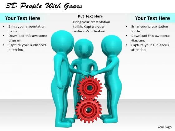 Business Strategy Review 3d People With Gears Concept Statement