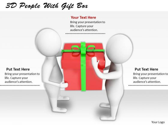 Business Strategy Review 3d People With Gift Box Concept Statement