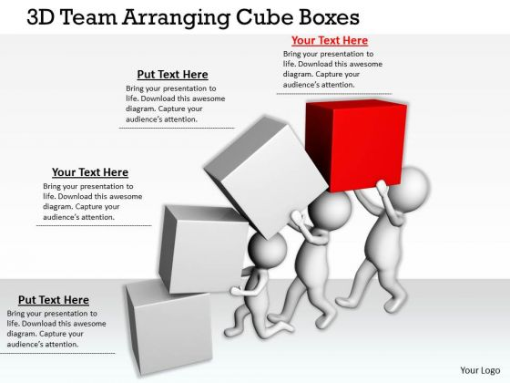 Business Strategy Review 3d Team Arranging Cube Boxes Concepts