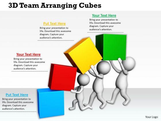 Business Strategy Review 3d Team Arranging Cubes Concepts
