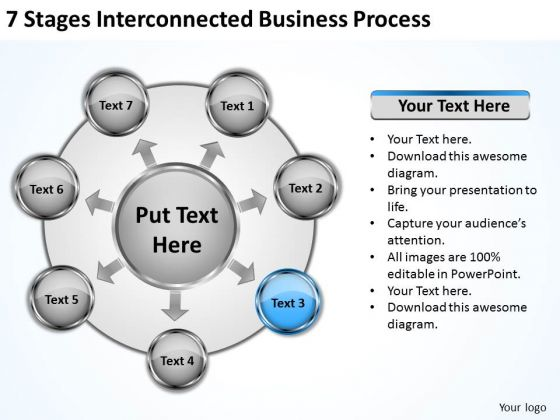 Business Strategy Review 7 Stages Interconnected Process Ppt PowerPoint