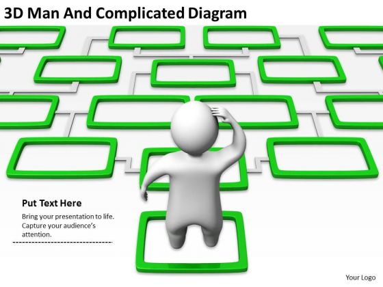 Business Structure Diagram 3d Man And Complicated PowerPoint Templates