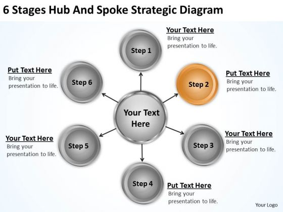 Business Structure Diagram 6 Stages Hub And Spoke Strategic PowerPoint Slides