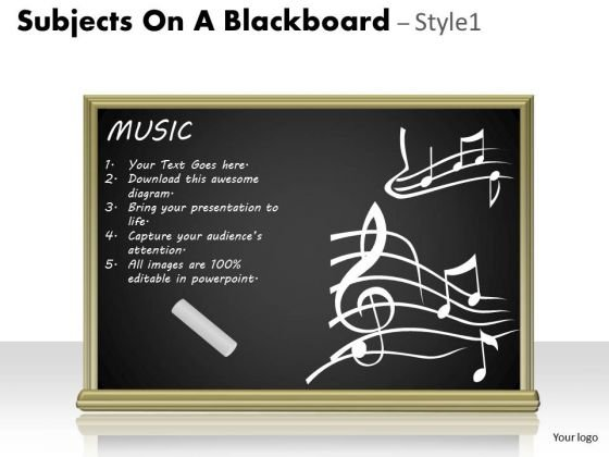 Business Subjects On A Blackboard 1 PowerPoint Slides And Ppt Diagram Templates