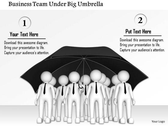 Business Team Under Big Umbrella PowerPoint Templates