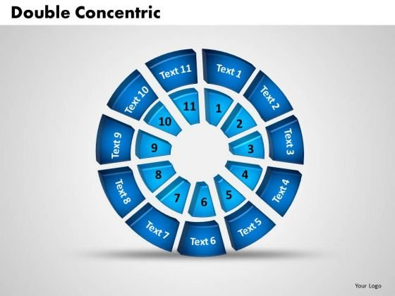 Business Teamwork PowerPoint Templates Business 3d Double Concentric Rings Pieces Ppt Slides