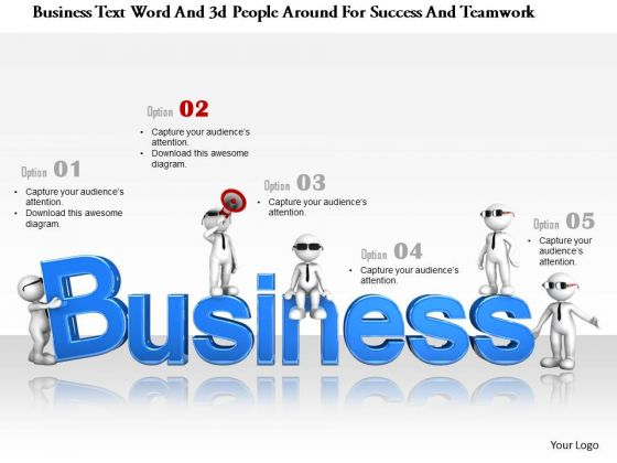 Business Text Word And 3d People Around For Success And Teamwork
