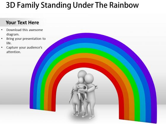 Business Unit Strategy 3d Family Standing Under The Rainbow Concept