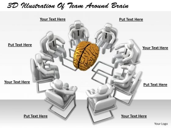 Business Unit Strategy 3d Illustration Of Team Around Brain Concept
