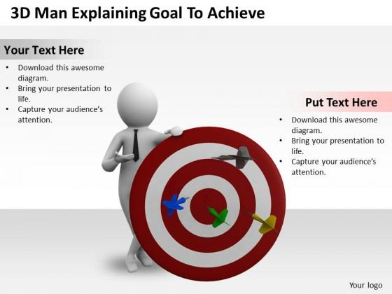 Business Unit Strategy 3d Man Explaining Goal To Achieve Characters