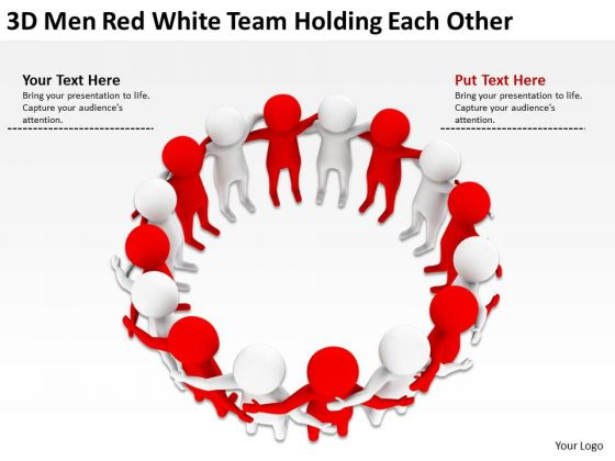 Business Use Case Diagram 3d Men Red White Team Holding Each Other PowerPoint Templates