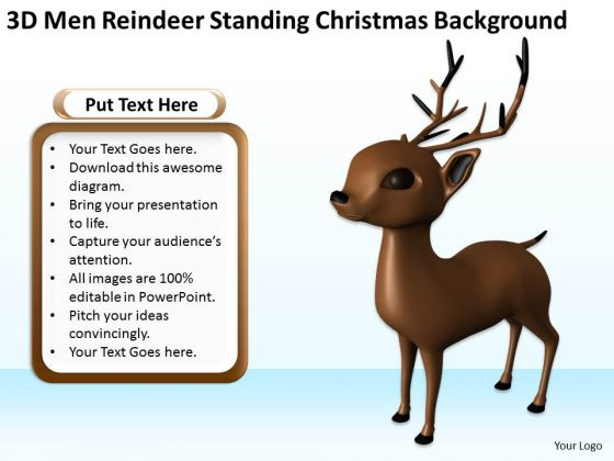 Business Use Case Diagram 3d Men Reindeer Standing Christmas Theme PowerPoint Templates