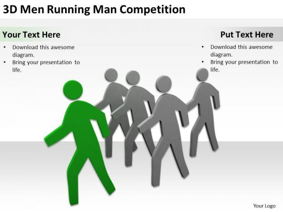 business use case diagram 3d men running man competition, Presentation templates