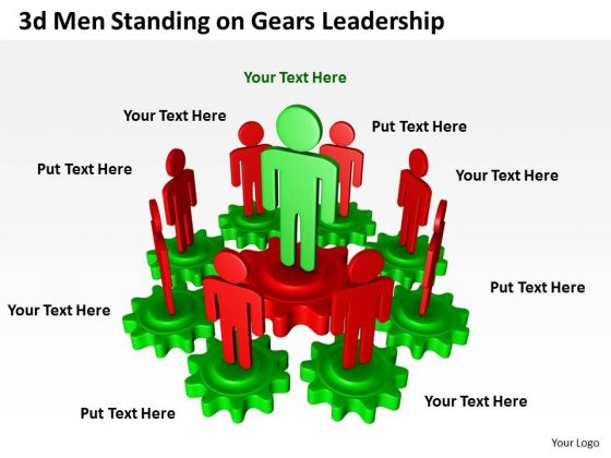 Business Use Case Diagram 3d Men Standing On Gears Leadership PowerPoint Templates