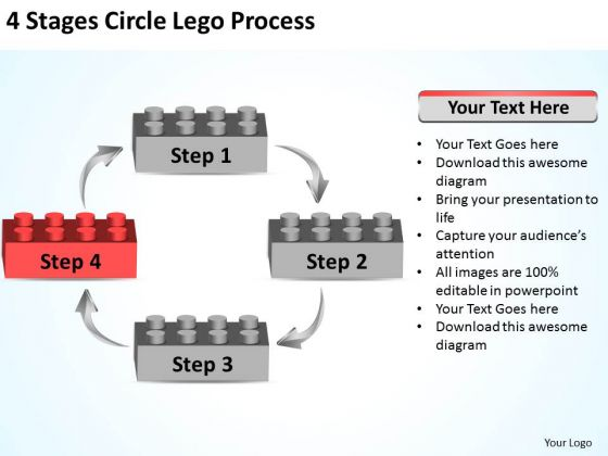 Business Use Case Diagram 4 Stages Circle Lego Process Ppt PowerPoint Slides
