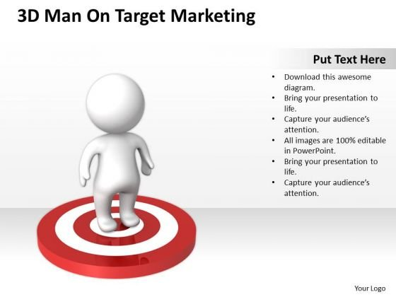 Business Workflow Diagram 3d Man On Target Marketing PowerPoint Slides
