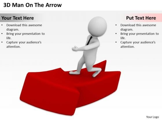 Business Workflow Diagram 3d Man On The Arrow PowerPoint Slides