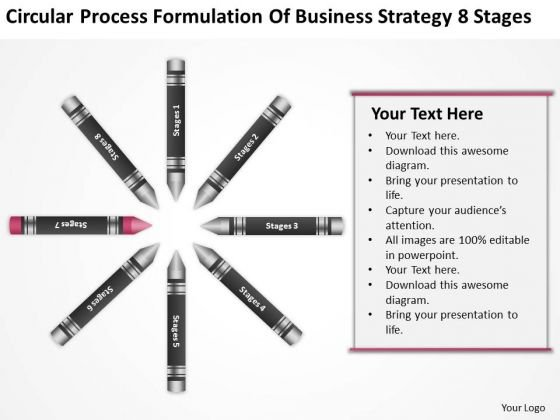 Business Workflow Diagram Formulation Of Strategy 8 Stages Ppt PowerPoint Slide