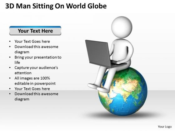 Business Workflow Diagram Sitting On World Globe PowerPoint Templates Ppt Backgrounds For Slides