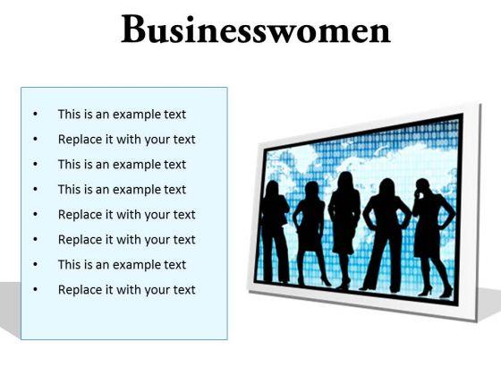 Businesswomen Global PowerPoint Presentation Slides F