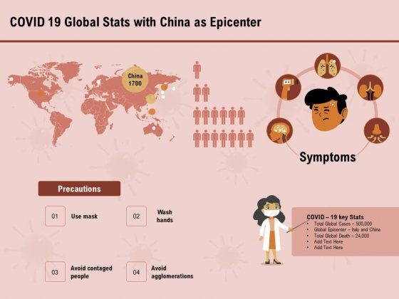COVID 19 Pandemic Disease Covid 19 Global Stats With China As Epicenter Icons PDF