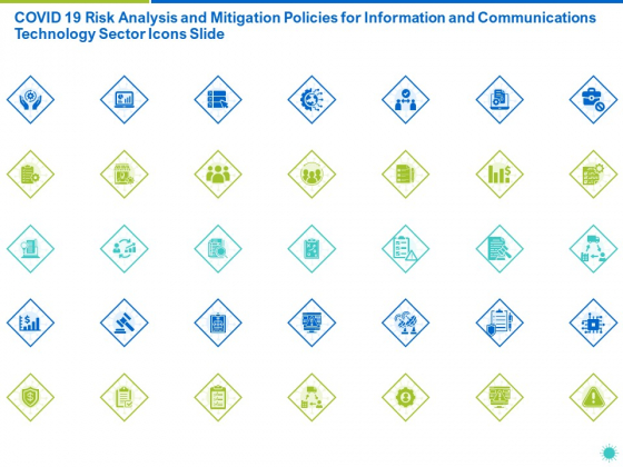 COVID 19 Risk Analysis And Mitigation Policies For Information And Communications Technology Sector Icons Slide Brochure PDF