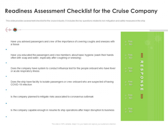 COVID 19 Risk Analysis Mitigation Policies Ocean Liner Sector Readiness Assessment Checklist For The Cruise Company Structure PDF